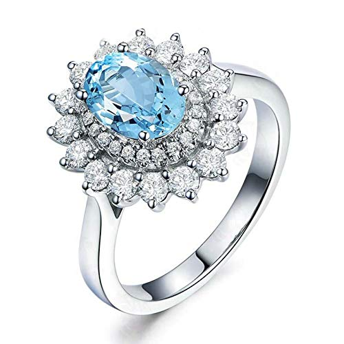 AmDxD Anillos Plata Ley 925, Anillos Mujer Compromiso Ovalada Flor 6X8MM Azul Topacio con Circonita Blanco | Plata| Tamaño 8| Regalo Madre (Circunferencia 48 mm)