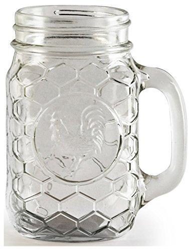 Circleware Glass Mason Jar, Set of 4, 175 oz, Rooster Mugs