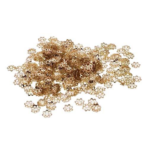 chiwanji Aprox. 300x Cap de Cuentas de Flores de Filigrana - 6/8 Mm Fabricación de Joyas de Plata Y Oro DIY - 6mm Dorado