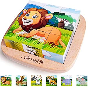 6 in 1 Wooden Block Puzzle Animal Cube Puzzle for 2 3 4+ Years Boy Girl Educational Toys Montessori Toys for Toddlers Jigsaw Puzzle with Puzzle Tray by Rolimate