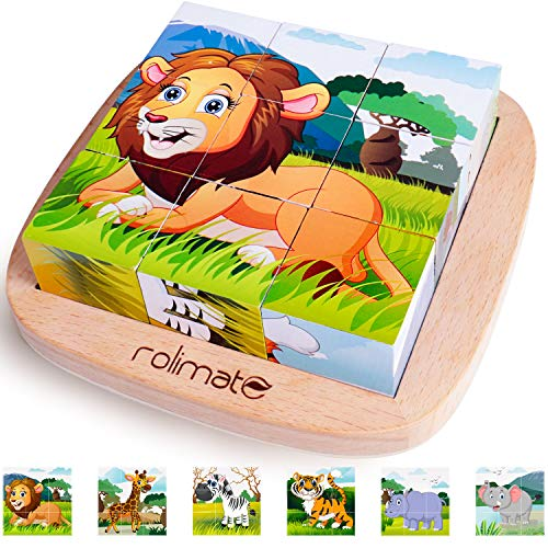 6 in 1 Wooden Block Puzzle Animal Cube Puzzle for 2 3 4+ Years Boy Girl...