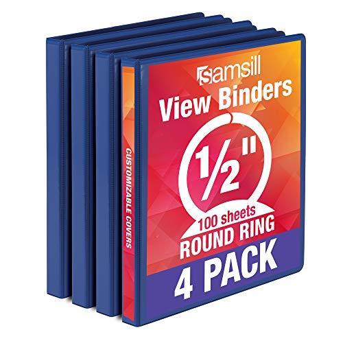 Samsill Economy 3 Ring Binder Organizer, .5 Inch Round Ring Binder, Customizable Clear View Cover, Dark Blue Bulk Binder 4 Pack (MP48512)