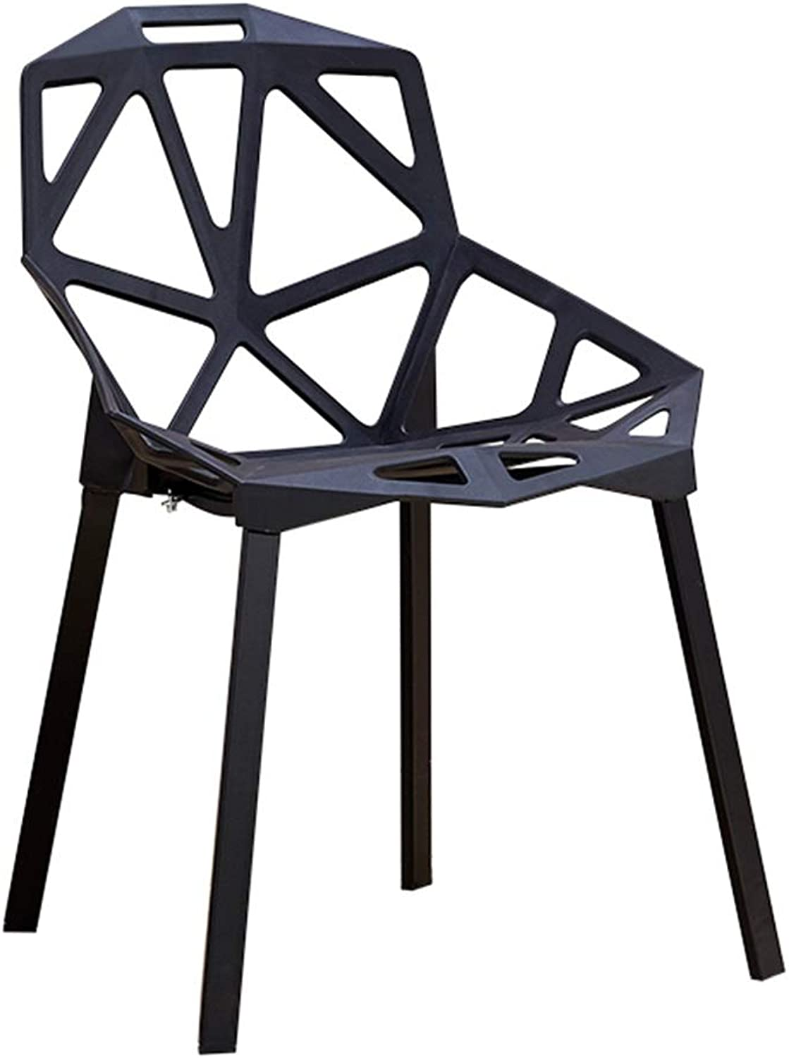 Plastic Chair, Home Back Plastic Personality Tea Shop Table and Chairs Dining Chair Indoor and Outdoor Multi-Scene Use (color   Black)