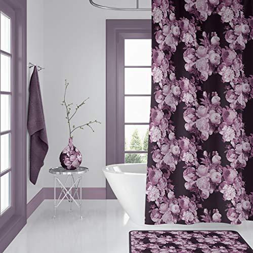 565pir Duschvorhang Weinrot & Rosen mit Blumenmuster, Dunkles Blumenmuster, Burg&errot/Braun