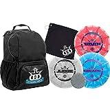 Dynamic Discs Disc Golf Starter Set | Black Cadet Disc Golf Bag Included | 17+ Disc Capacity | Prime Burst Disc Golf Frisbee Set Included | Putter, Midrange, Driver | 170g Plus | Colors Will Vary