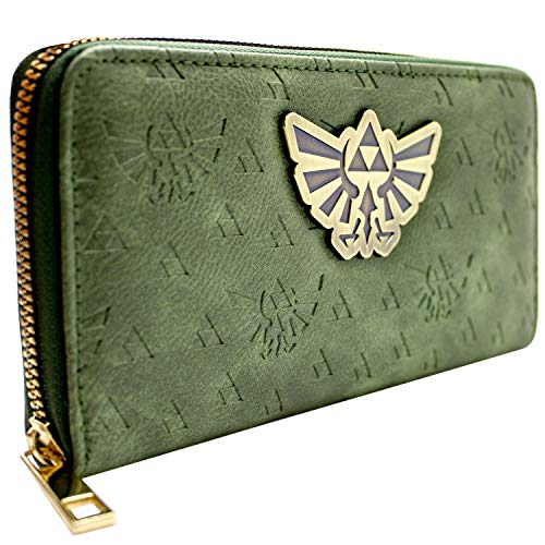 Cartera de Legend of Zelda En Relieve Tri-Force Los símbolos Verde