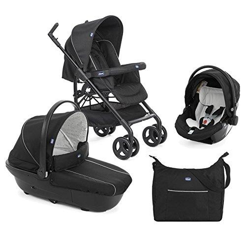 Chicco Trío Sprint - Sistema de paseo y viaje 3 en 1, capazo/carrito/coche, color negro