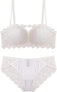Your only friend Lace Sexy Gathered Bra Set, Nylon and Sponge, no Steel Ring, Adjustable Chest Underwear, Adjustable Shoulder Strap, Three-Row Buckle. (Color : White, Size : 85B=36B=80B)