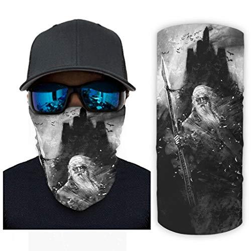 CCMugshop Bandanas para la cara vikinga oscura, Odin guerrero, lancha, cuervos, pintura impresa, cuello de la muñeca, color blanco, talla única