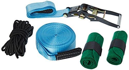 Relaxdays Slackline 15m Set mit Baumschutz Hilfsseil Ratsche und Tasche, einsteigerfreundlich, blau