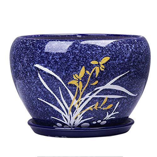 PLL Chinese Stijl Keramische Donkerblauwe Bloempot Eenvoudig Groen Ophangende Orchidee Potten Absorberend Ademend Balkon Thuis Bloempot