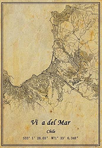 Póster de Chile con mapa de Viña del Mar en lienzo con impresión de estilo vintage sin marco para decoración de regalo de 60,9 x 90,6 cm