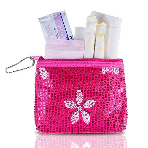 Period Starter Kit - Fashionable and Organic Menstrual Period Survival Kit - When Aunt Flo Makes a Surprise Visit! (Your First Choice to-Go!) (Pink)