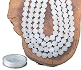 6mm Natural Matte White Jade Round Gemstone Frosted 120Pcs Bulk Loose Beads for Jewelry Making Bracelet with Stretch Beading Cord LPBeads