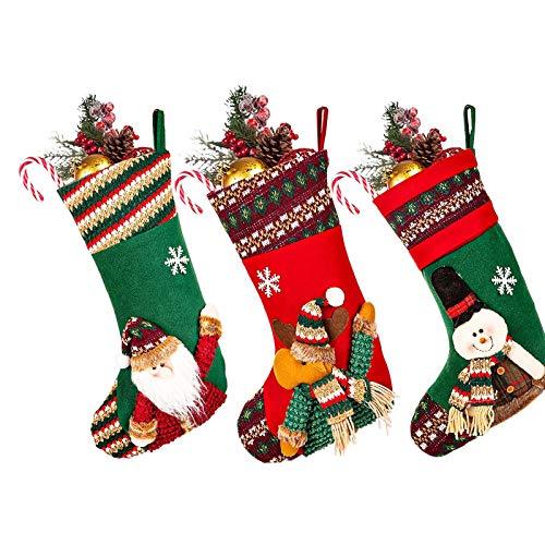 Dyna-Living 3er Set Large Weihnachtsstrumpf,mit weihnachtlichem Muster Personalized Nikolaussocken,Xmas Stockings Decoration, socken für Familienfeierdekoration Geschenke Taschen