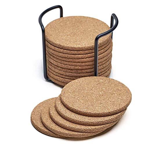 ZGQA-GQA Posavasos Natural con Ronda 16pc Set con Soporte de Metal de Almacenamiento Caddie  1/5 Pulgadas Grueso, Absorbente, Respetuoso del Medio Ambiente, a Prueba de Calor, Reutilizable