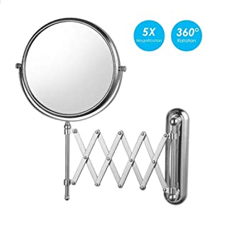 Makeup Mirror, Adjustable and Extendable Round Chrome Wall Mounted Shaving Mirror - 360° Swivel Rotating Head, Vanity Mirror with 1x and 5X Magnification