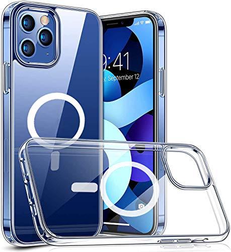 C&X Cover con Cerchio Magnetico Compatibile con iPhone 12 e 12 Pro - Custodia Trasparente Compatibile con MagSafe, Wallet Magnetico, Caricatore Wireless - Sistema Ibrido TPU+PC Flessibile e AntiGiallo