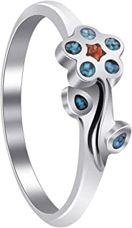 Gem Avenue 925 Sterling Silver Southwestern Style Turquoise with Coral Gemstone Flower Womens Ring