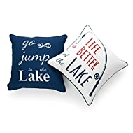 """Hofdeco Lake House Indoor Outdoor Pillow Cover ONLY, Water Resistant for Patio Lounge Sofa, Navy Red White Life Better Go Jump in Lake, 18""""x18"""", Set of 2"""