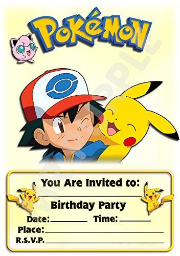 Pokemon Geburtstagseinladungen–Querformat – Pikachu-Design–Party-Zubehör (12er-Pack A5-Einladungen)