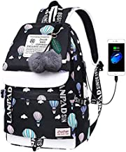 Lmeison Waterproof Bookbag for Middle School, Women Teen Girls Charging Backpack with USB Charging Port, Vintage Travel Daypack for College 15.4 inch Laptop Bag for School