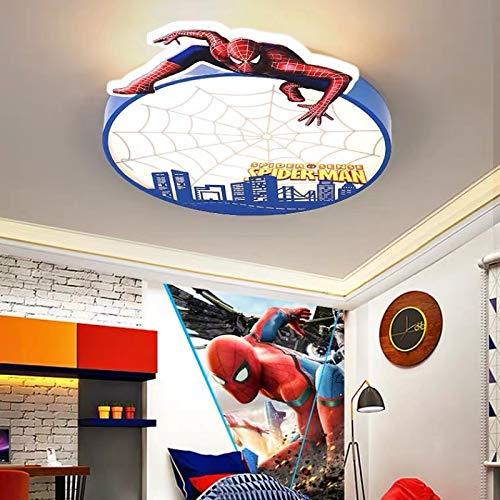 Lámpara De Techo Regulable Con Mando A Distancia Para Habitación Infantil,Plafón Led De Techo,Spiderman Simple Moderno Baloncesto Ligero Luz Blanca Spiderman 52Cm
