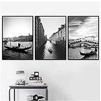 DLFALG ブラックホワイトヴェネツィアシティブリッジ風景壁アートキャンバス絵画北欧のポスターとプリント壁の写真リビングルームの装飾-40x60cmx3フレームなし