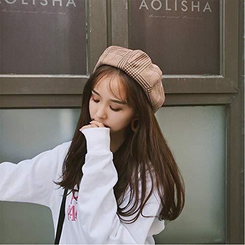 U/D Yllang Chapeau de Bonnet de 2020 New Girl Beanies Bonnet Harajuku Dames Chapeau Automne et Hiver Chaud Fashion Plaid Hat Beret Painter Dome Tendance Chaud (Color : Orange, Hat Size : 56 58cm)