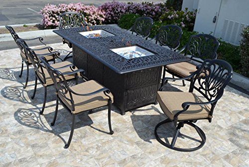 "theWorldofpatio Elizabeth Cast Aluminum Powder Coated 9pc Dining Set with 44""x84"" Propane Fire Pit Double Burner Dining Table - Antique Bronze"