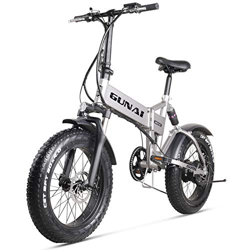 GUNAI 20 inch Electric Snow Bike 500W Folding Mountain Bike with Disc Brake and 48V 12.8AH Lithium Battery (Silver)