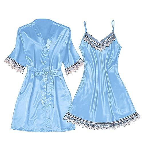 Damen Sexy Spitze Pyjamas 2Pcs Set Satin Bademantel Seide Roben Bademantel und Nachthemd Set V Ausschnitt Mit Blumen Spitze Babydoll Nachtwäsche Nachthemd Set