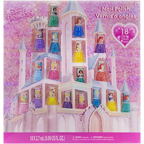 Townley Girl Disney Princess Castlebox Non-Toxic Peel-Off Water-Based Natural Safe Quick Dry Nail Polish | Gift Toy Kit Set for Kids Toddlers Girls, First Princess | Opaque Colors, Ages 3+ (18 Pcs)