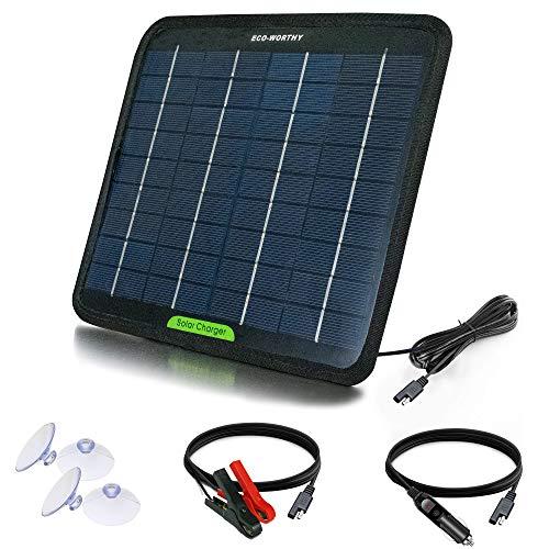 ECO-WORTHY Caricabatterie solare 12 volt 5 watt per batteria auto, ricarica di mantenimento batteria modulo solare portatile per auto, barca, marina, casa mobile, camion