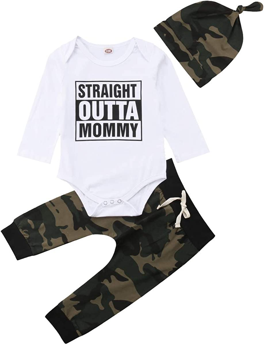 bebiullo 3PCS Baby Boy Girl Clothes Letter Print Romper Long Sleeves Jumpsuit Camouflage Pants Hat Clothing Outfits