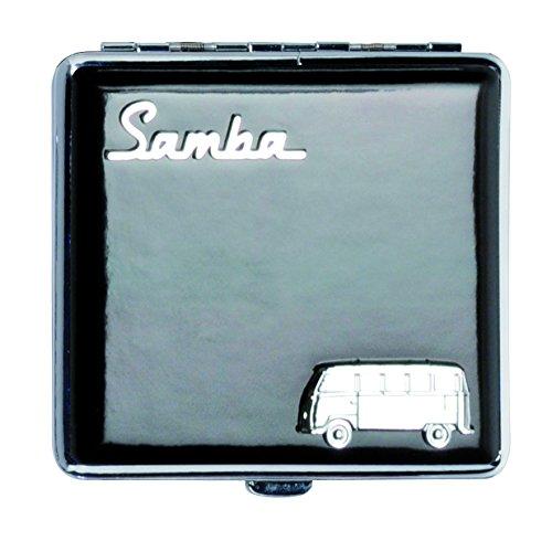 VW | Zigarettenetui | Samba | Original | Lizenz von Volkswagen | Etui I für 18 Zigaretten I Robustes Metall | mit Metallklammern | Schwarz
