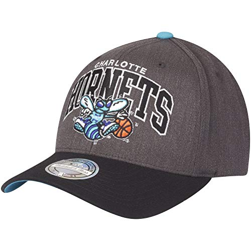Mitchell & Ness Charlotte Hornets G2 Arch INTL845 Charcoal 110 Curved Eazy NBA Flexfit Snapback Cap One Size
