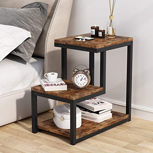 Tribesigns End Table with Storage Shelf, 3-Tier Industrial Ladder-Shaped Nightstand, Wood and Metal Sofa Couch Chair Side Table Bed Table for Bedroom Living Room