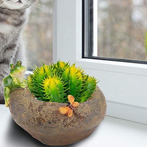 Cartoon Animal Succulent Pot Mini Flower Pot, Resin Plant Holder, Plant Pot Mini Succulent Planter, Desktop Succulent Pot Animal Planter Succulent Pot(Frog Predation)