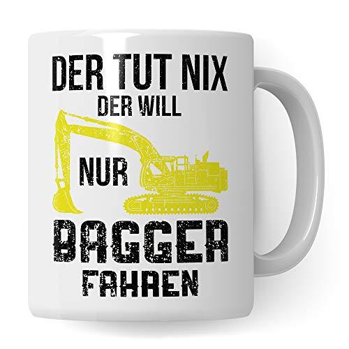 Pagma Druck Tasse Bagger Männer, Baggerfahrer Geschenk, Geschenkidee für Baumaschinenführer & Bagger Fahrer Becher, Kaffeetasse Baumaschinen Baggerführer Baustelle