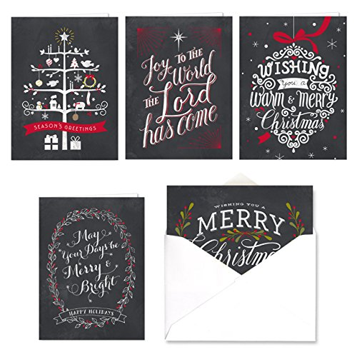 Celebrate the Season Chalkboard Christmas Card Assortment Pack / 25 Greeting Cards Set / 5 Holiday Designs Versed Inside With White Envelopes