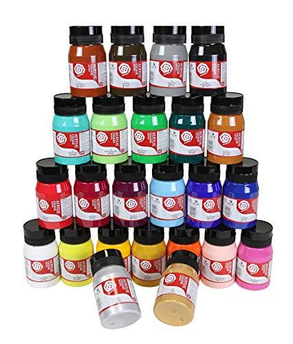 Magi Artist Künstler- Acrylfarbe, hochpigmentierte Top-Qualität in 500 ml Vorratsgebinde mit 24 Farben, insgesamt 12l Artist Acryl