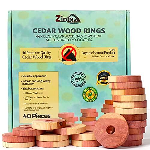 Protección Contra Gabinetes Anti Polillas Zidina | 40x asesino de polillas orgánico premium | incluye azulejos decorativos de madera de cedro | repelente de insectos libre de químicos