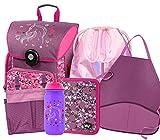Schulranzen Set Mädchen 6 Teilig - Schultasche ab 1. Klasse - Grundschule Ranzen mit Brustgurt - Ergonomischer Schulrucksack (Pferde)
