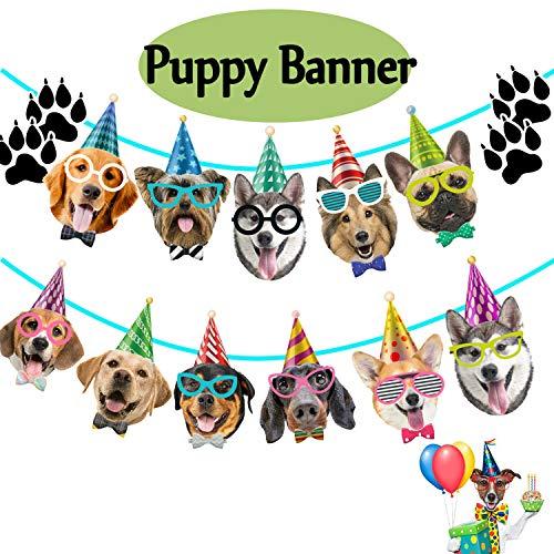 Funnlot Dog Banner Puppy Party Decorations Dog Theme Birthday Banner Birthday Dog Garland Dog Faces Birthday Banner Bday Baby Shower Party Decorations