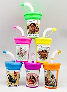 ONE STOP 6 Disney Moana Stickers Birthday Sipper Cups with lids Party Favor Cups