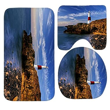 SSOIU 3 Piece Bath Mat Set Seaside Lighthouse Non-Slip Bathroom Mats Contour Toilet Cover Rug