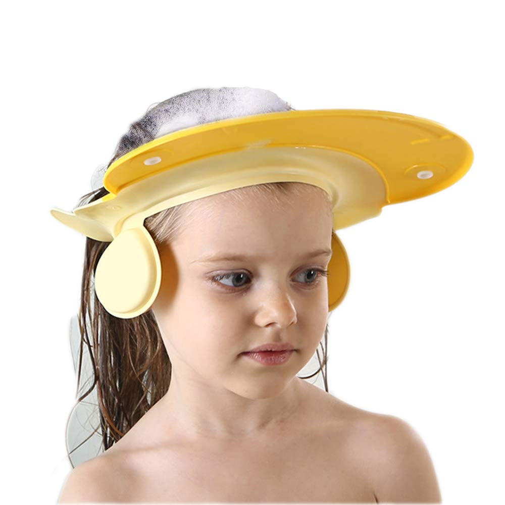 Bath Cap wash Shower Shampoo Visor hat Prevent Water Entering The Eyes and Ears Adjustable Bathing tub Head Hair Rinser Shield Protection Kids Children Toddler Beach Baby Safety(Yellow)
