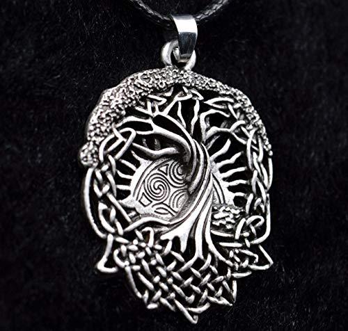 YioKpro Amuletos Vikingos Joyas Talismanes Celt World Tree Colgante Collar Viking Pegan Wicca Druid Árbol de la Vida Collar