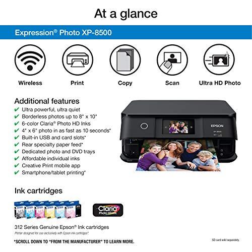 Epson Expression Photo XP-8500 Wireless Color Photo Printer with Scanner and Copier, Amazon Dash Replenishment Ready Photo #4